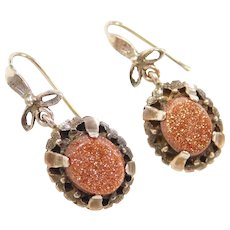 Victorian 14k Gold Goldstone Earrings