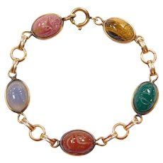 "Egyptian Revival 7 1/4"" 12k Gold Filled Colorful Gemstone Scarab Bracelet ~ Circa 1920's"