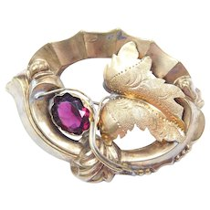 Edwardian Gold Plated Rhodolite Paste Leaf Pin / Brooch Foliage