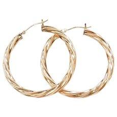 Vintage Sterling Silver and 14k Gold BIG Twisted Hoop Earrings