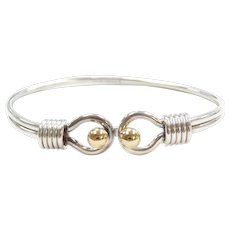 """6 1/2"""" Sterling Silver and 18k Yellow Gold Bead Bangle Bracelet"""