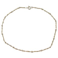 """Gold Vermeil Sterling Silver Singapore Bead Anklet ~ 10"""""""