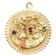 14k Gold Colored Glass Golf Charm