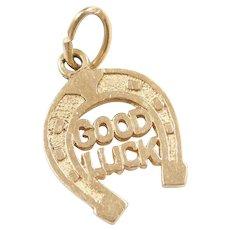 Vintage 10k Gold Good Luck Amulet Horseshoe Charm