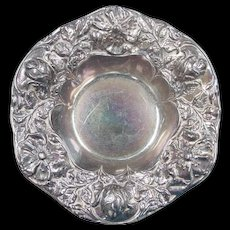 Estate Sterling Silver Gorham Flower High Relief Bon Bon Bowl ~ Rainbow Patina