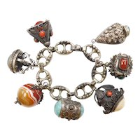 Hand Crafted Medieval Gothic Revival 800 Silver Charm Bracelet ~ Big Gemstone Charms