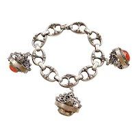 Gothic Revival Vintage 1930's Charm Bracelet LARGE Multiple Gem Cannetille 800 Silver