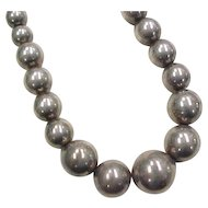 Vintage Sterling Silver Large Graduated Bead Necklace ~ 18""