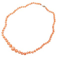 """Beautiful 20"""" 14k Gold Graduated Angel Skin Coral Bead Necklace"""