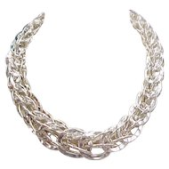Vintage Sterling Silver Chunky Graduated Necklace ~ 17""