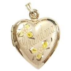 Vintage 14k Gold Grandma Heart Locket Pendant with Yellow and Rose Flower Accents