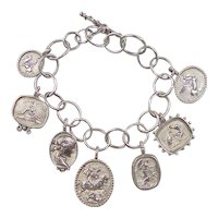 Sterling Silver Roman / Greek Soldier Charm Bracelet