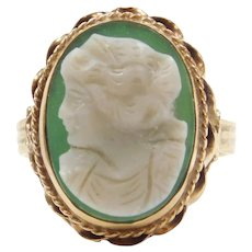 Edwardian 14k Gold Green Agate Carved Shell Cameo Ring 14k Yellow Gold