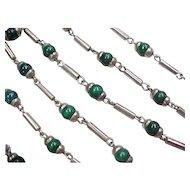 Vintage Sterling Silver Green Glass Bead Set Necklace and Bracelet