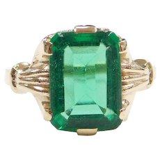 Edwardian 10k Gold Green Paste Ring