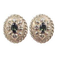 Vintage 14k Gold 1 ctw Green Tourmaline Stud Earrings