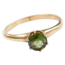 Edwardian 10k Gold .62 Carat Dark Forest Green Tourmaline Solitaire Ring