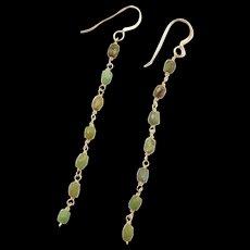 Vintage 14k Gold Green Turquoise Dangle Earrings