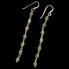 Vintage 14k Gold Green Turquoise Dangle Earrings