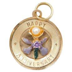 "14k Gold Purple Flower ""Happy Anniversary"" Charm ~ Cultured Pearl, Purple Sapphire and Enamel"