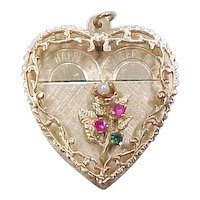 Vintage 14k Gold Happy Anniversary Heart Charm / Pendant