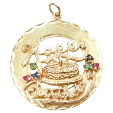 14k Gold Big Happy Birthday Charm with Ruby, Emerald and Sapphires