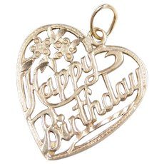 Vintage 14k Gold HAPPY BIRTHDAY Heart Charm