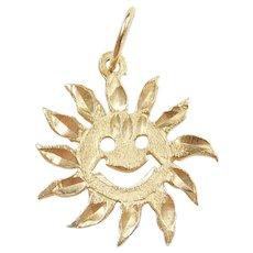 Vintage 14k Gold Happy Sun Charm