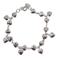 Vintage Sterling Silver Heart Bracelet with Heart Charms