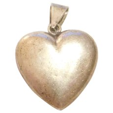 Sterling Silver Thin Puff Heart Charm / Pendant