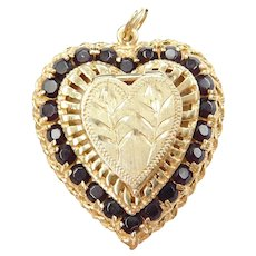 14k Gold BIG Garnet Perfume Locket Pendant