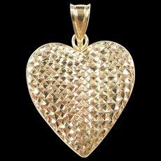 Vintage 14k Gold Diamond Cut Heart Locket Pendant