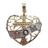 "Vintage 14k Gold Heart with Cross ""Mom"" Charm or Pendant Two-Tone"