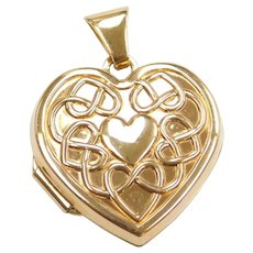 "14k Gold ""You to me are more Precious than a Heart of Gold"" Heart Locket Pendant ""I Love You"""
