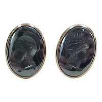 Vintage 10k Gold Men's Hematite Intaglio Cuff Links