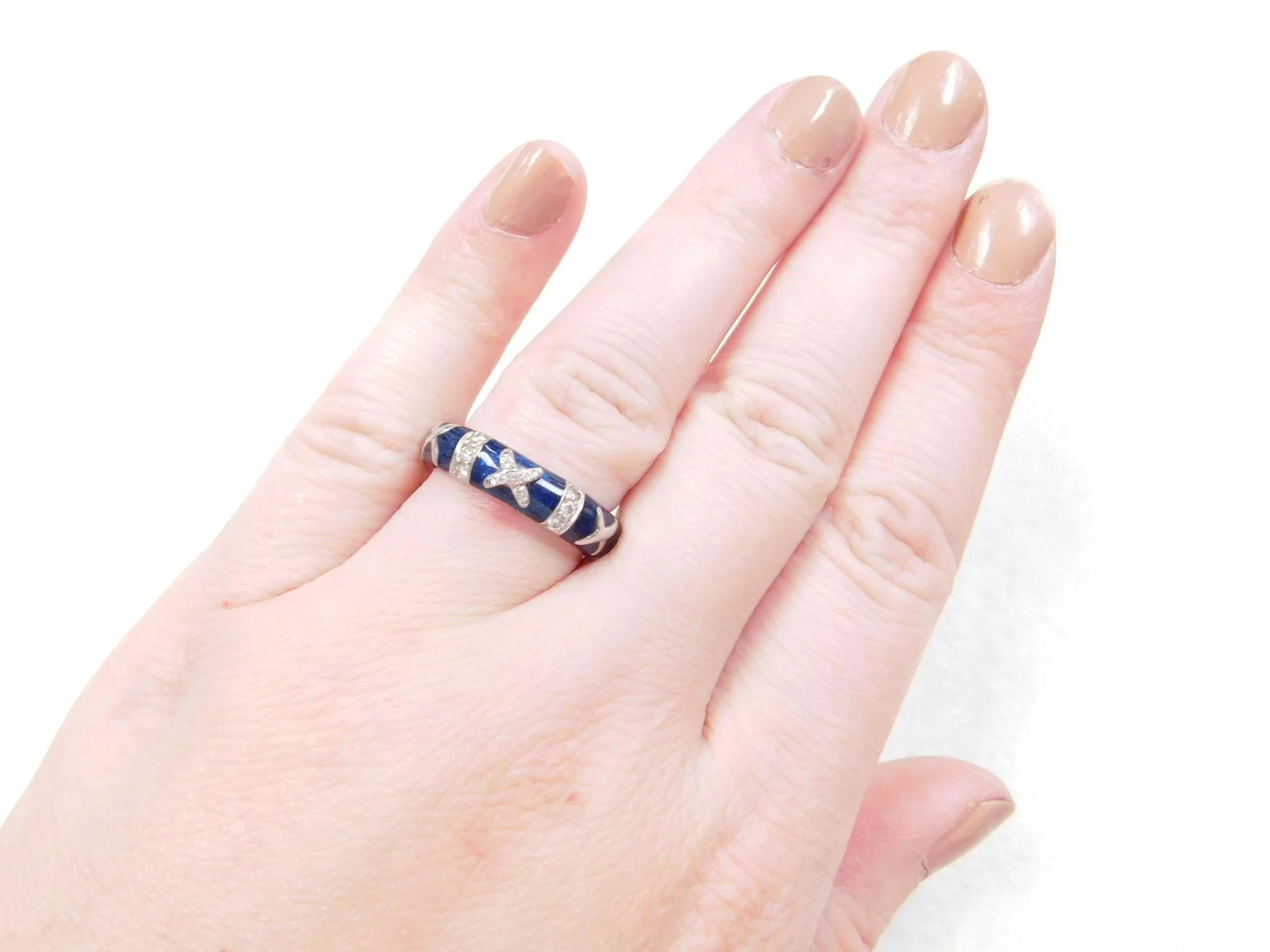 Hidalgo DESIGNER 18k White Gold Blue Enamel and Diamond Ring ...