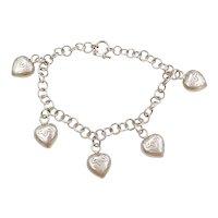 1970's Sterling Silver Heart Charm Bracelet