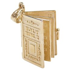 Vintage 14k Gold Holy Bible Charm with The Lords Prayer, Moving Pages