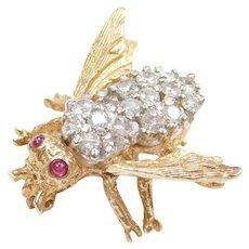 Diamond and Ruby Honey Bee Pin / Brooch 14k Gold
