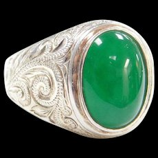 Stunning Hand-Engraved Imperial Jade Men's Sterling Silver Ring ~ Green