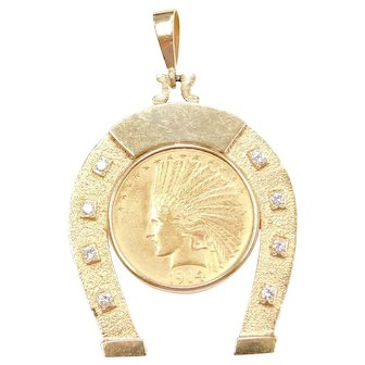 1914 22k & 14k Gold Ten (10) Dollar Indian Head Uncirculated Coin in Big Horseshoe Pendant Setting with Diamond Accents ~ Western ~ One of a Kind