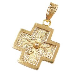 Intricate Filigree Cross Pendant 14k Yellow Gold