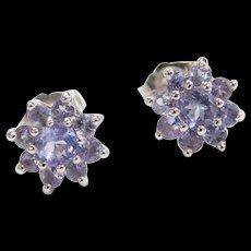 Vintage 14k White Gold .96 ctw Iolite Flower Stud Earrings