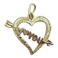Vintage 14k Gold Two-Tone I Love ( Heart ) You Charm