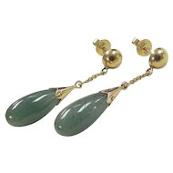 Vintage 14k Gold Jade Dangle Earrings