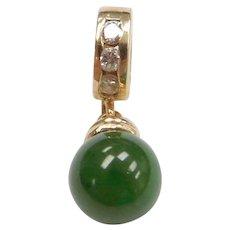 14k Gold Jade and Diamond Pendant