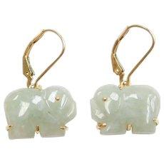 Hong Kong 14k Gold Lucky Jade Elephant Earrings Amulet