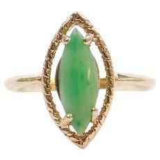 Jade Marquise / Navette Ring 10k Gold Edwardian