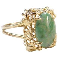 Vintage 14k Gold Green Jade Ring