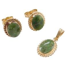 Vintage 14k Gold Jade Set ~ Stud Earrings and Pendant